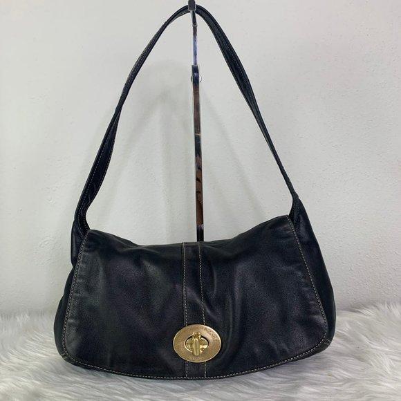 COACH Ergo Flap Shoulder Bag 11254 Black Leather
